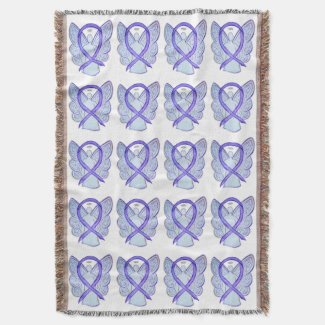 Lavender Cancer Awareness Ribbon Throw Blankets