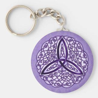 Lavender Celtic Art Trinity Knot Keychain