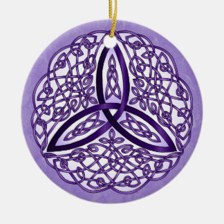Lavender Celtic Art Trinity Knot Double-Sided Ceramic Round Christmas Ornament