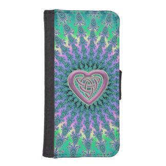 Lavender Celtic Heart Fractal Wallet Phone Case iPhone 5 Wallet Case