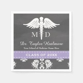 Lavender Chalkboard Caduceus Med School Graduation Standard Cocktail Napkin