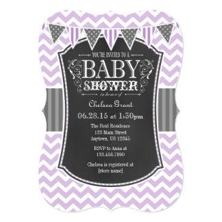 Lavender Chalkboard Chevron Baby Shower Invite