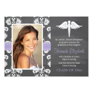 Lavender Chalkboard Nursing School Graduation Personalized Announcements