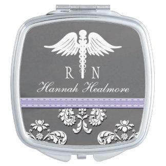 Lavender Chalkboard Registered Nurse RN Caduceus Mirror For Makeup
