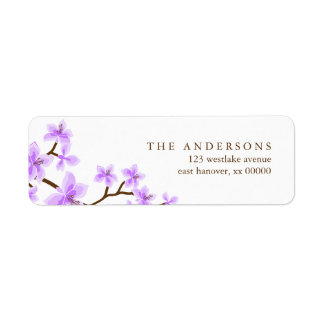 Lavender Cherry Blossoms Address Labels