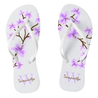 Lavender Cherry Blossoms Monogrammed Flip Flops