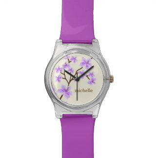 Lavender Cherry Blossoms Personalized Wrist Watch