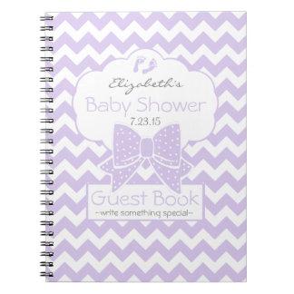 Lavender Chevron Baby Shower Guest Book- Notebook