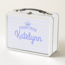 Lavender Chevron Fun Princess Metal Lunch Box