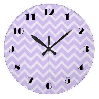 Lavender Chevron Pattern Wall Clock