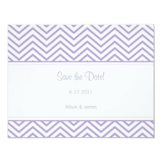 "Lavender Chevron Print Save the Date Annoucement 4.25"" X 5.5"" Invitation Card"
