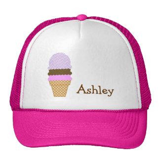 Lavender Chevron Stripes; Ice Cream Cone Hats