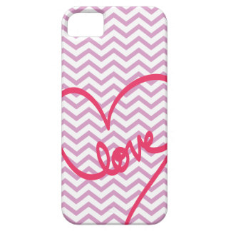 Lavender Chevron with Love Pattern iPhone 5 Cases