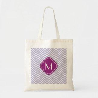 Lavender Chevron Zigzag Stripes with Monogram Tote Bag