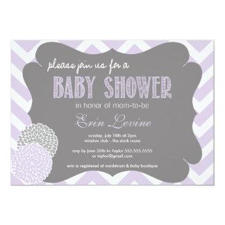Captivating Lavender Chic Chevron Baby Shower Invitation