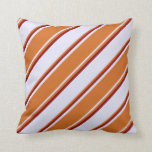 [ Thumbnail: Lavender, Chocolate & Dark Red Colored Pattern Throw Pillow ]