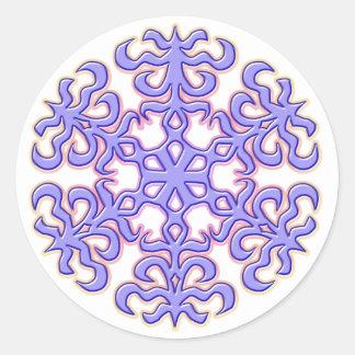 Lavender Christmas Snowflake Classic Round Sticker