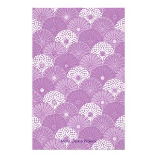 Lavender Classic Japanese Chrysantemum Pattern Stationery