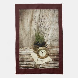 lavender, clock, old letter and key kitchen towel