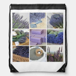 Lavender Collage Drawstring Backpack