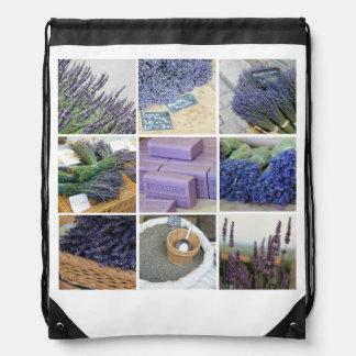 Lavender Collage Drawstring Bags