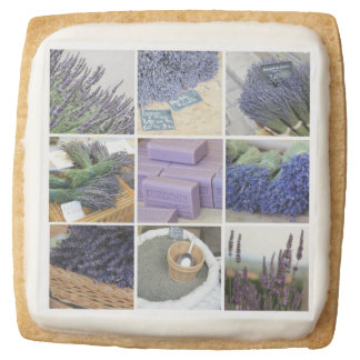 Lavender Collage Square Shortbread Cookie