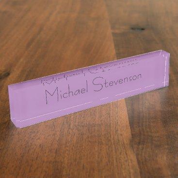 Lavender Color Elegant Modern Minimalist Desk Name Plate