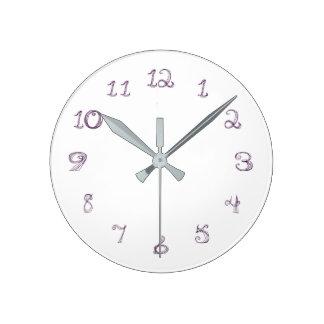 lavender color fabric font round clock