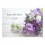 lavender-colored flowers on music save the date 5x7 paper invitation card