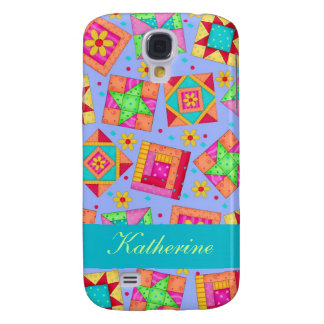 Lavender Colorful Patchwork Quilt Blocks Custom Galaxy S4 Cover