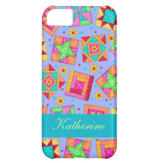 Lavender Colorful Patchwork Quilt Blocks Custom iPhone 5C Covers