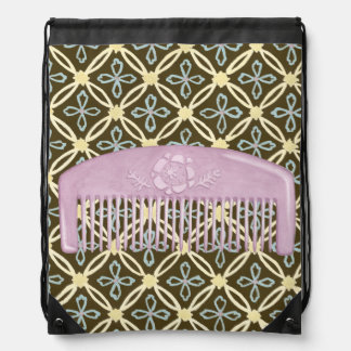 Lavender Comb on Chocolate Background Backpacks