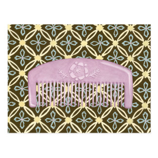 Lavender Comb on Chocolate Background Postcard