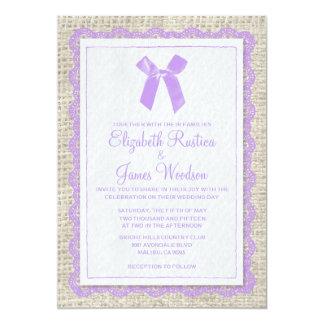 "Lavender Country Burlap Wedding Invitations 5"" X 7"" Invitation Card"