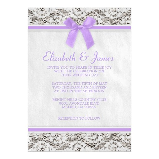 Lavender Country Lace Wedding Invitations Personalized Invitation
