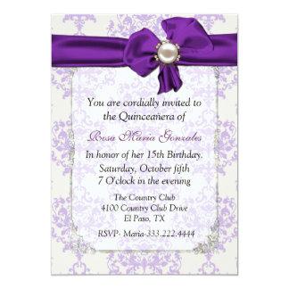 Lavender & Cream Damask Quinceañera Invitation