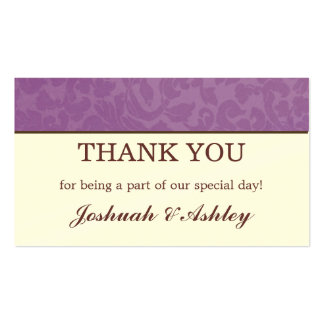Lavender & Cream Wedding Table Thank You Cards Double-Sided Standard Business Cards (Pack Of 100)