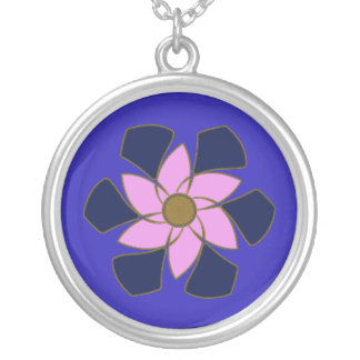 Lavender Crescent Spiral Flower Mandala Silver Plated Necklace