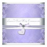 Lavender Cross Girls Purple First Communion Personalized Invite