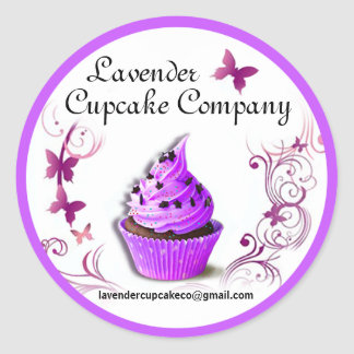 Lavender Cupcake Co Sticker purple border large
