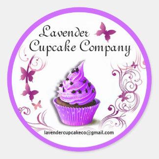 Lavender Cupcake Co Sticker purple border large