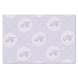 "Lavender Customizable Initial in Ornate Frame 10"" X 15"" Tissue Paper"