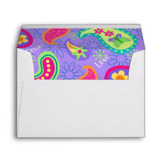 Lavender Customizable Modern Paisley Pattern Envelope