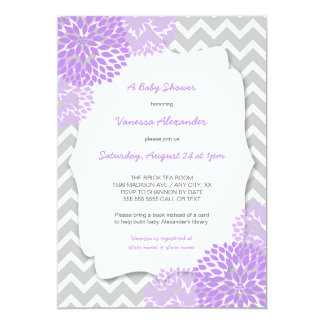 Lavender Dahlia Baby shower invites / purple grey