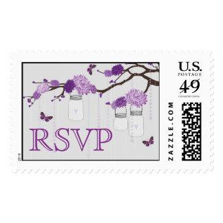 Lavender Dahlias on Branch RSVP Postage Stamp