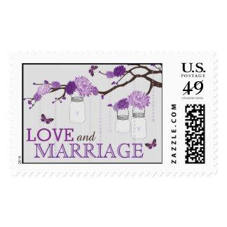 Lavender Dahlias on Branch Wedding Postage