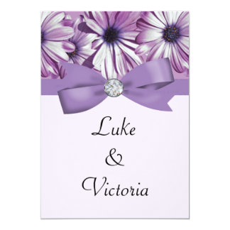 Lavender Daisies Bow & Ribbon Wedding 5x7 Paper Invitation Card
