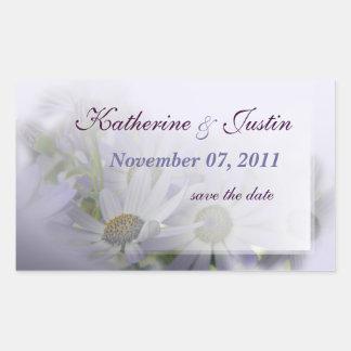 lavender daisies save the date 1 rectangular sticker