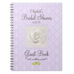 Lavender Damask and Rose Bridal Shower Guest Book Note Books