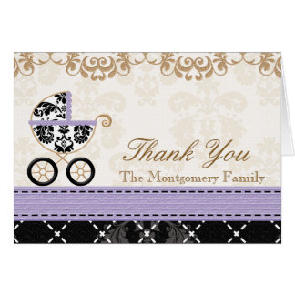 LAVENDER Damask Baby Carriage Shower Thank You Card